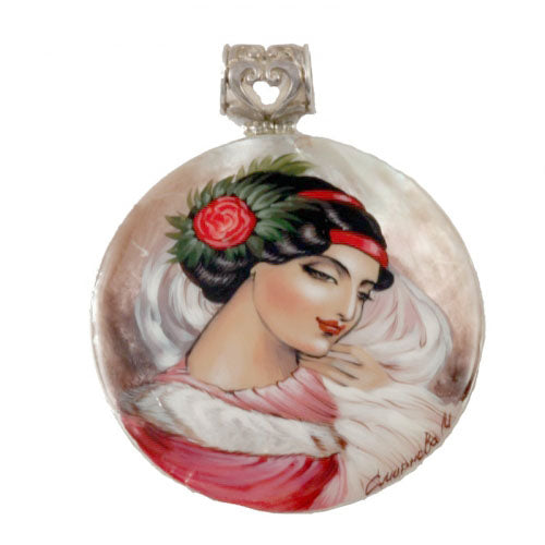 buyrussiangifts-store - Hand Painted Mother Of Pearl Silver Pendant the Spanish - BuyRussianGifts Store - MOTHER OF PEARL HAND PAINTED JEWELRY