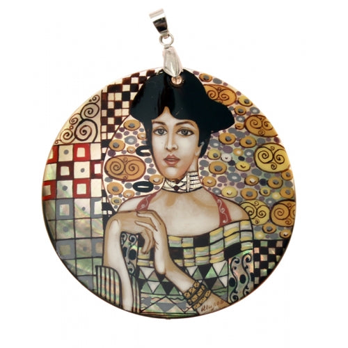 buyrussiangifts-store - Hand Painted Pendant Inspired by Adele Klimt - BuyRussianGifts Store - MOTHER OF PEARL HAND PAINTED JEWELRY