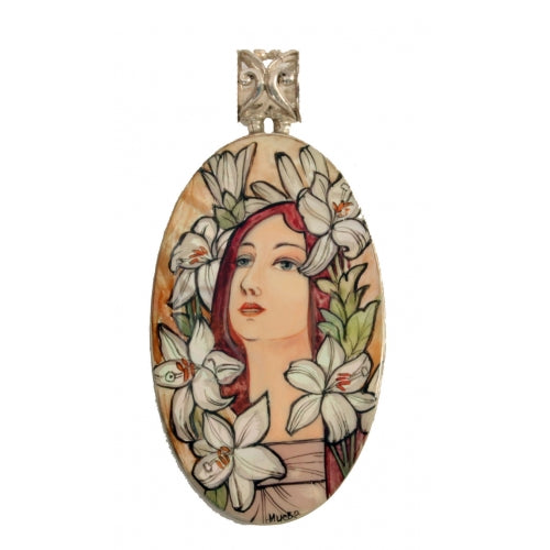 Hand Painted Silver Pendant inspired by Lila, Alphonse Mucha