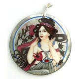 Hand-painted Pendant inspired by Music from Art Series Mucha