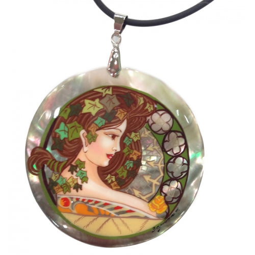 Pendant Inspired by Poetry Alphonse Mucha