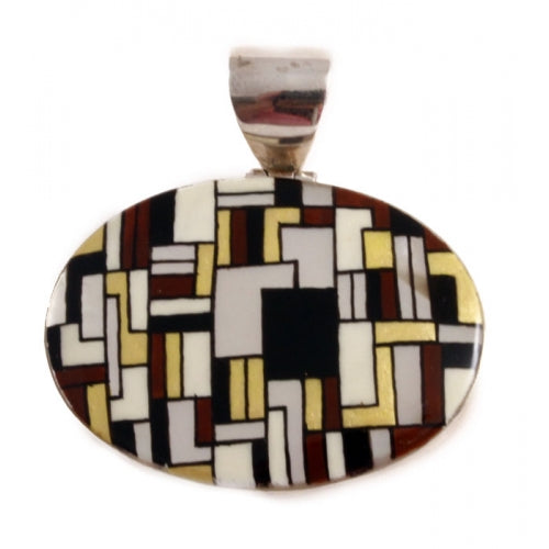 Hand Painted Mother of Pearl Silver Pendant Inspired by Klimt
