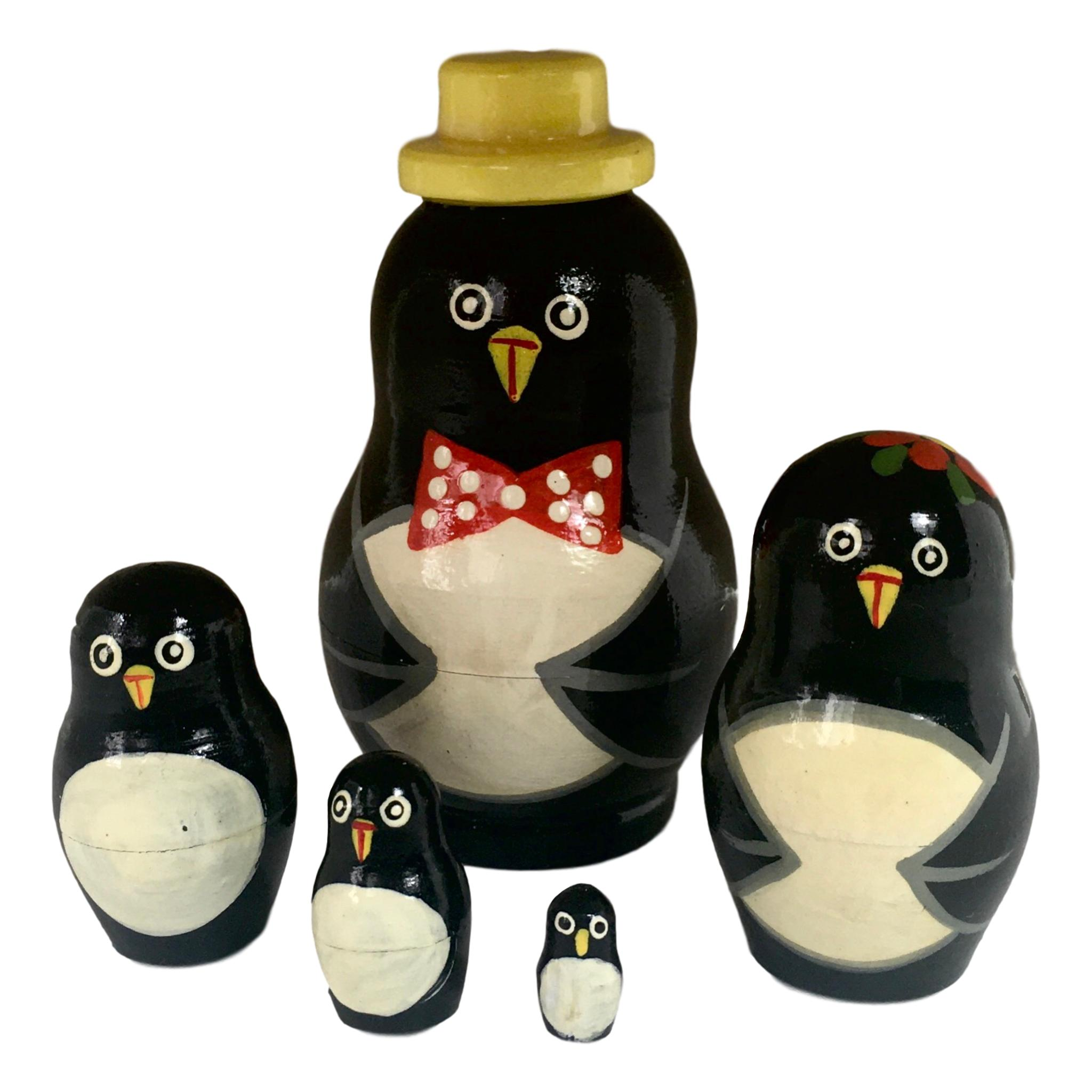 Set of 10pcs Lovely Penguin Printed Russian Babushka Matryoshka Nesting Doll Toy