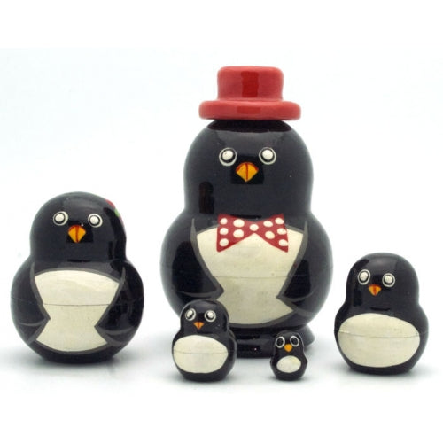 Happy Penguin in Red Hat Nesting Doll Set