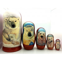 "Polar Bear Nesting Doll Set 7"" Tall"