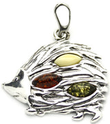 Porcupine Multicolor Amber Sterling Silver Pendant