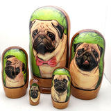 "Pug Dog Breed Nesting Doll Set 7"" Tall"