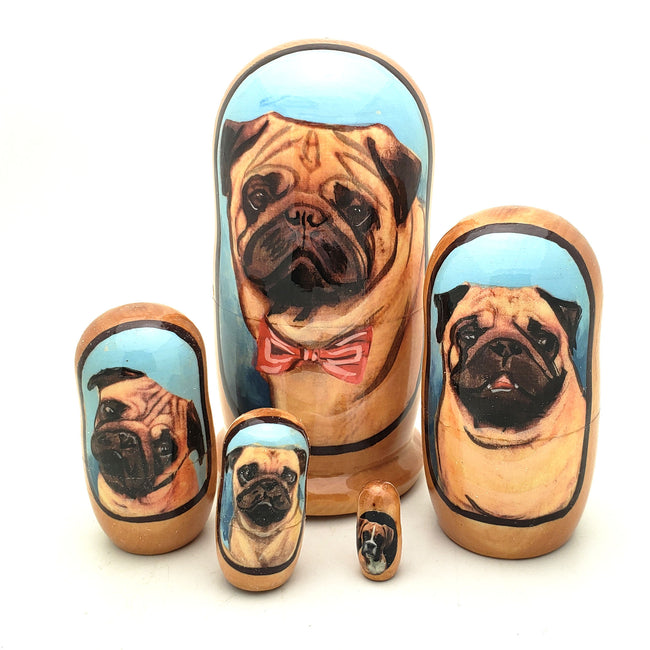buyrussiangifts-store - Pug Puppy Dog Breed Nesting Doll Set 4