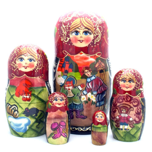 buyrussiangifts-store - Puss in Boots Fairy Tale Nesting Doll Set - BuyRussianGifts Store - Nesting doll