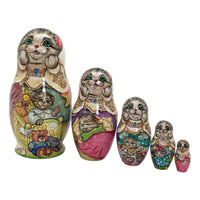 Russian grey cat stacking dolls