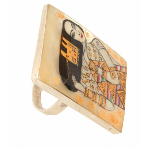 Hand Painted Rectangular Silver Ring Expectation Klimt