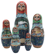Red Cat With Fish Matryoshka Dolls 5 pieces set