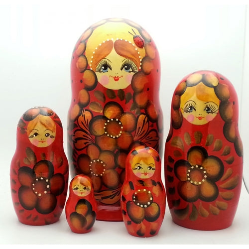 Red Nesting Doll with Ladybug 7