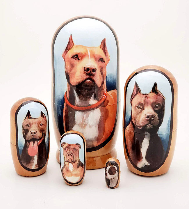 buyrussiangifts-store - Pitbull Nesting Doll Red Nose Pit Set 4