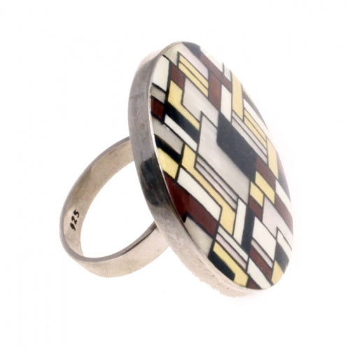 Hand Painted Sterling Silver Ring Inspired by Klimt