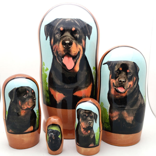 buyrussiangifts-store - Rottweiler dog breed nesting doll 7