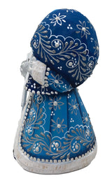 Blue Russian wooden santa