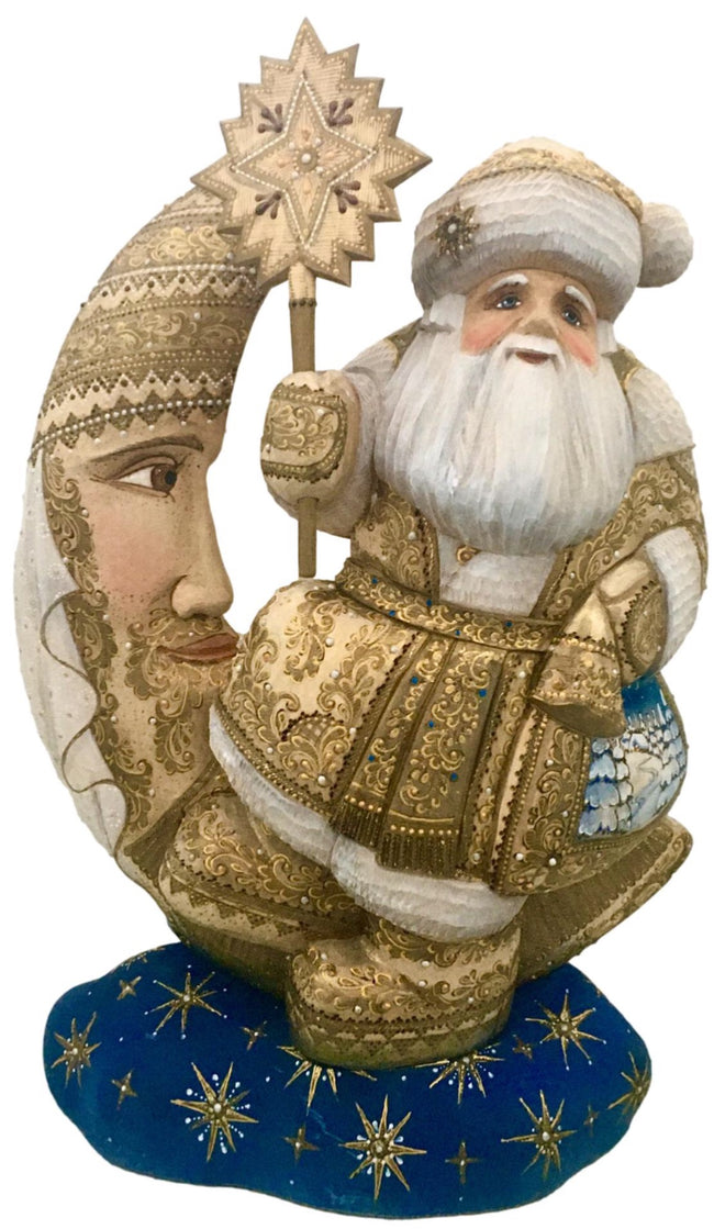 Russian wooden santa on a moon