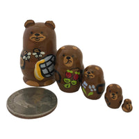 Mini set of nesting dolls Russian bear