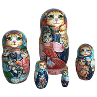 Cat Family Russian Nesting Dolls 5 pieces set