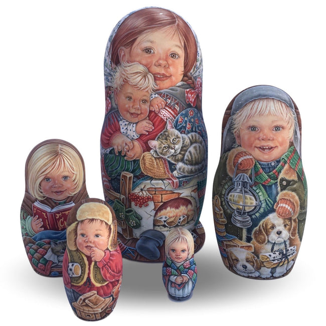 Stacking dolls Russian kids