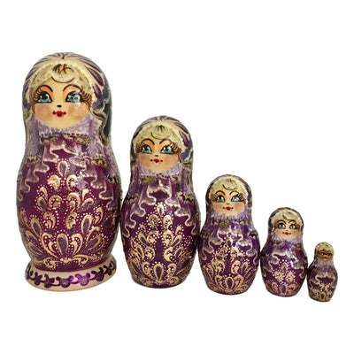 Purple nesting dolls from Russia