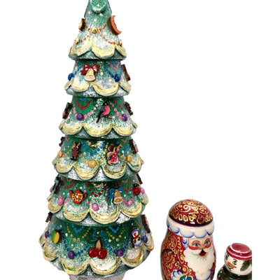 Russian nesting dolls Christmas tree Santa snowman