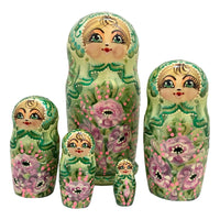 Russian nesting dolls green pink