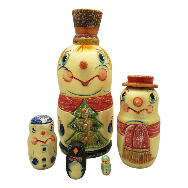 Russian nesting doll Snowman family and friends