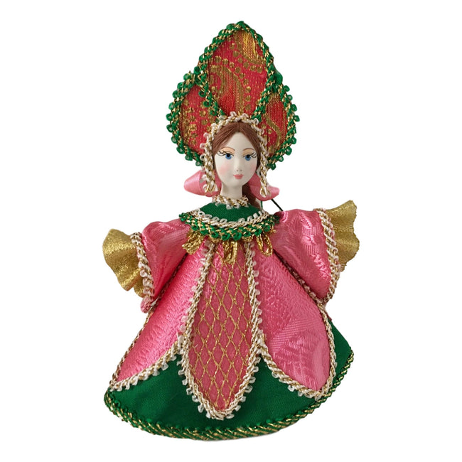 Pink Russian Christmas ornament doll