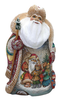 Russian Santa with kids and snowman