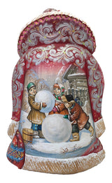 Santa Claus Russian children make snowman