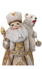 Wooden Santa with a Bear