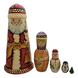 Santa with snowman and christmas tree nesting doll set