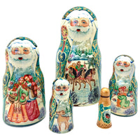 Russian Santa green nesting dolls