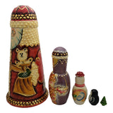 Russian santa set with teddy bear and snowman