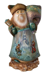 Snow queen story painted on Russian wooden santa