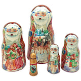 Russian Santa Winter Village Nesting Doll Christmas Set of 5
