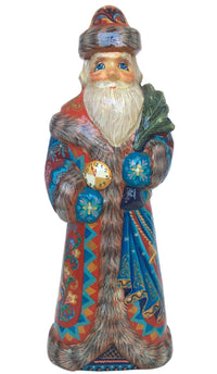 Russian wooden Santa with clock