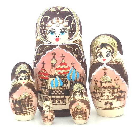 buyrussiangifts-store - Russian Church in Gold Nesting Doll 6
