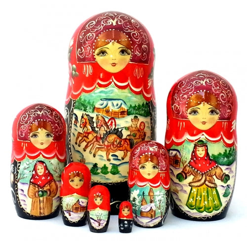 buyrussiangifts-store - Russian Troika 7 Piece Nesting Doll Set - BuyRussianGifts Store - Nesting doll