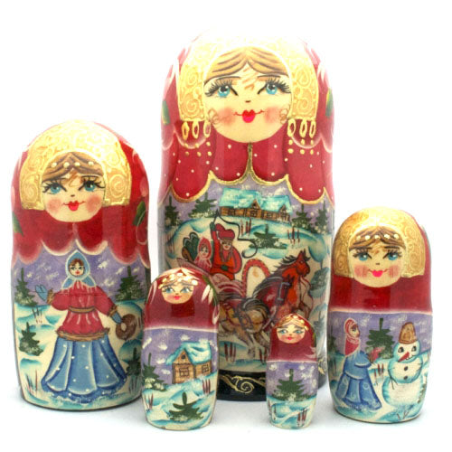 buyrussiangifts-store - Russian Troyka Winter 5 Piece Nesting Doll Set - BuyRussianGifts Store - Nesting doll
