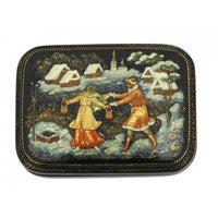 buyrussiangifts-store - Russian Village in Winter Palekh Box - BuyRussianGifts Store - Lacquer Boxes