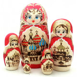 Russian Church Wood-burn red Nesting Doll Set 6 inch