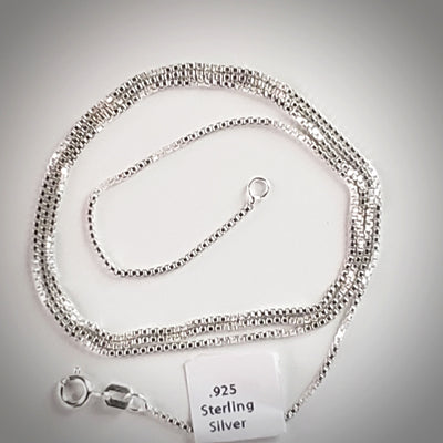 "Sterling Silver Box Chain / size from 14"" to 30"""