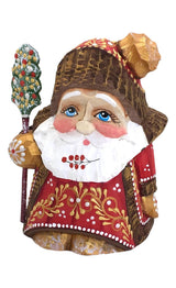 Santa gnome carved wooden figurine