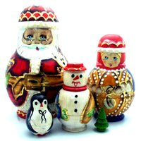 Santa in Glasses with Friends Matryoshka Doll Set