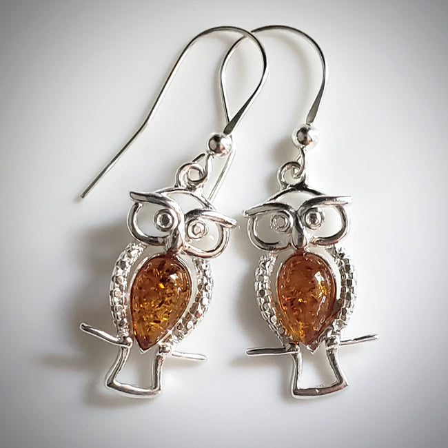 Sterling silver owl with amber