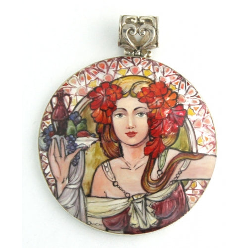 Handpainted Sterling Silver Pendant Inspired by Slavia Mucha