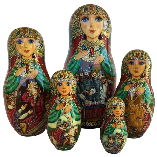 Russian stacking dolls sleeping beauty